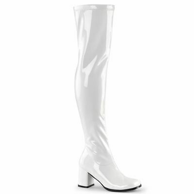 Thigh High Gogo Boots (Funtasma Gogo Dancer Thigh High White Halloween Costume Boots Shoes)