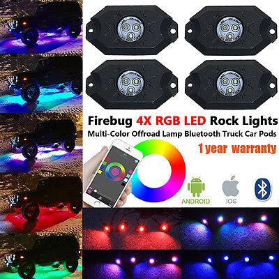 Firebug 4 x Pod RGB LED Rock Light, Neon LED Lights Kit for Jeep Off Road Truck