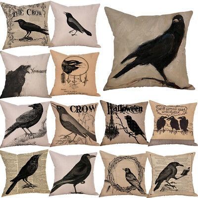 Happy Halloween Crow Print Pillow Cases Linen Sofa Cushion Cover Home Decoration