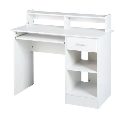 (White computer Desk Small Office Desk Work Table with Keyboard Tray and Drawer)