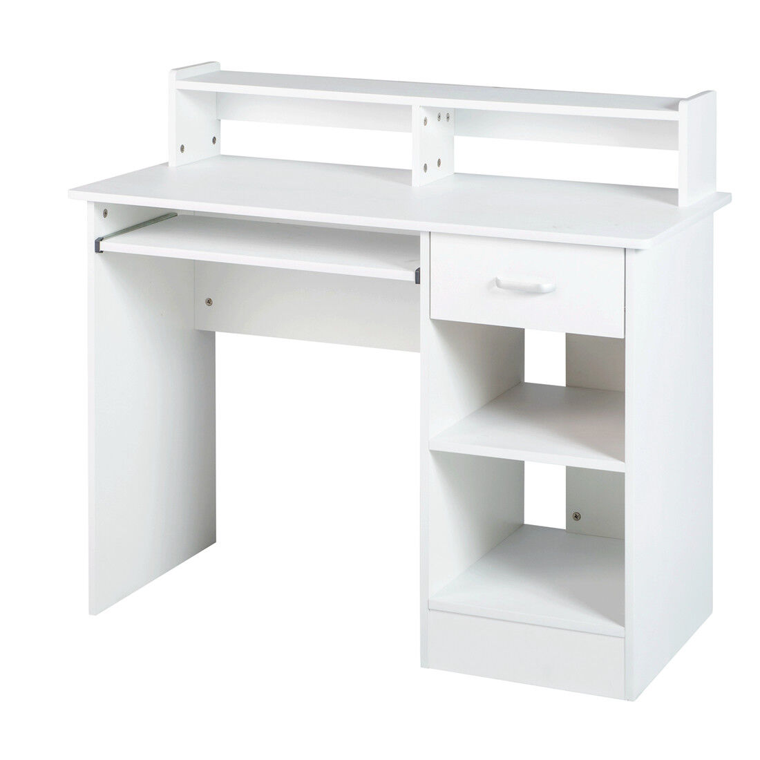 White computer Desk Small Office Desk Work Table with Keyboa