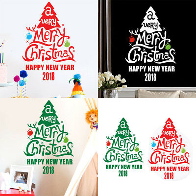 Happy New Year 2018 Christmas Tree Wall Sticker Home Shop Showcase Decals Decor