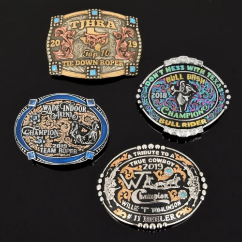 4 Large Western Trophy Belt Buckles