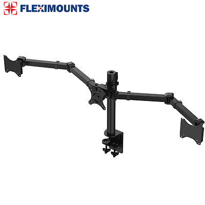 """Triple Monitor Arms Full Motion Desk Mount Stand for 3 LCD Screens up to 27"""""""