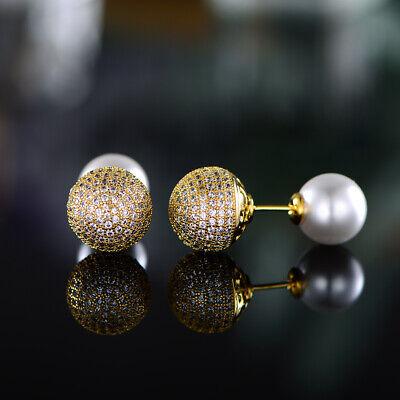 Sevil 18K Gold Plated Round Stud Earrings & Pearl With Swarovski Elements Gold Plated Round Stud