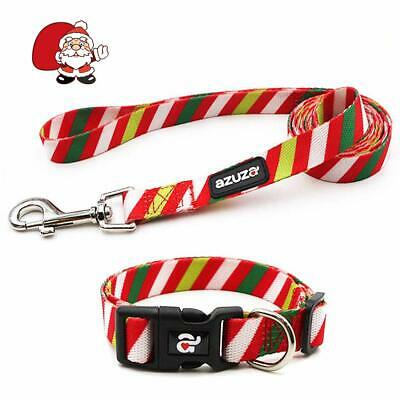 Dog Collar and Leash Set, Adjustable Nylon Collar with Matching Leash,Red Stripe Red Striped Dog Collar