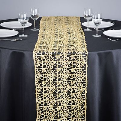 Gold Chemical Lace Sequin Table Runner 14 x 108 inch Made in USA Wedding Party  - Gold Lace Table Runner