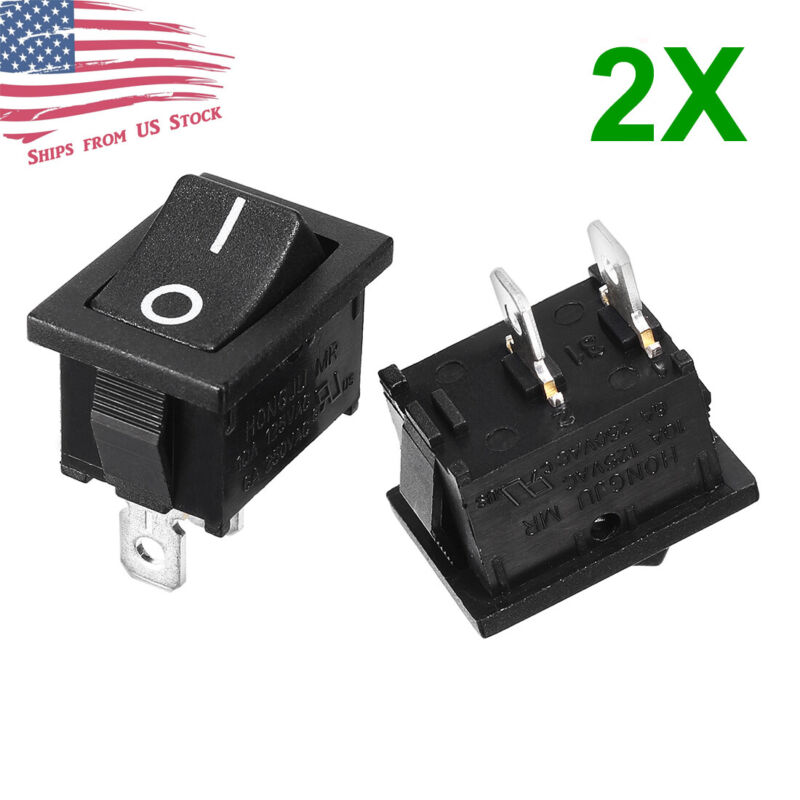 2Pcs Rocker Switch 2 PIN ON-OFF SPST 125VAC/10A 250VAC/6A 21x15mm BLACK KCD1-101