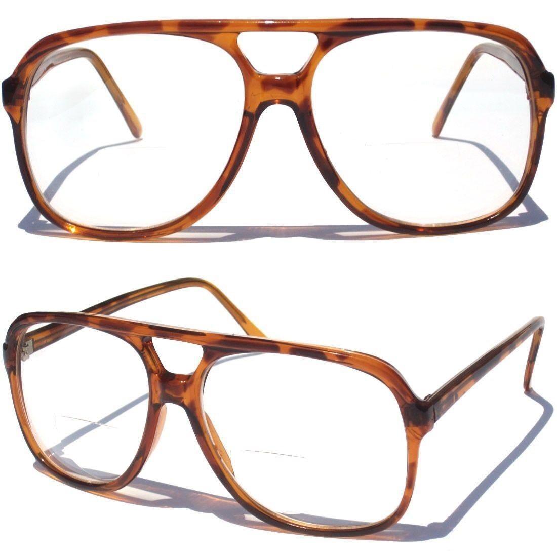 f6c82c94de0f Details about Large Aviator Bi-Focal Clear Lens Reading Glasses Tortoise  Shell Design Retro