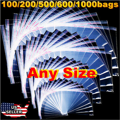 Clear Resealable Recloseable Self Adhesive Cello Lip Tape Poly Plastic Bags Us