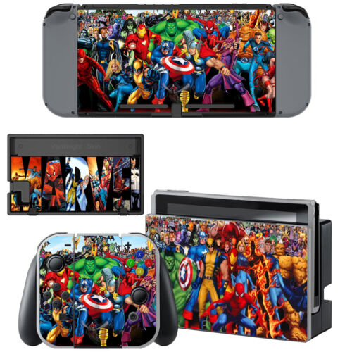 Nintendo Switch Console Joy-Con Skin Marvel Comic Vinyl Decals Stickers Covers