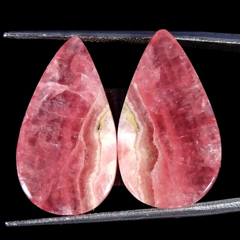 24.10Cts Natural Pink Rhodochrosite Pear Pair Cabochon Loose Gemstone