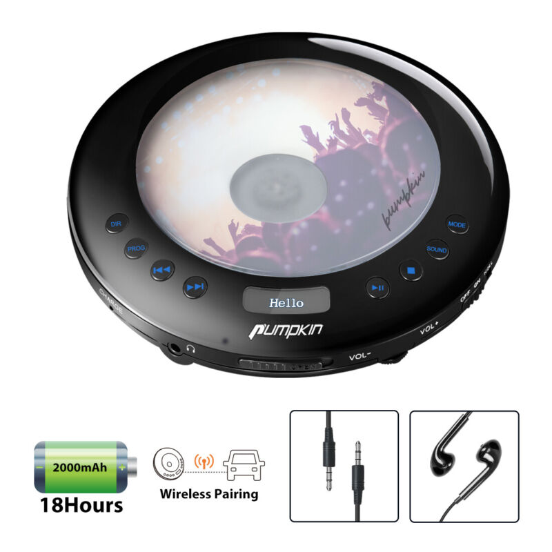 Portable CD Player for Car with FM Transmitter Rechargeable Battery OLED Display