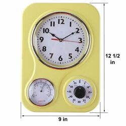 Retro 50's Vintage Kitchen Wall Clocks with Timer Temperature Modern Classic