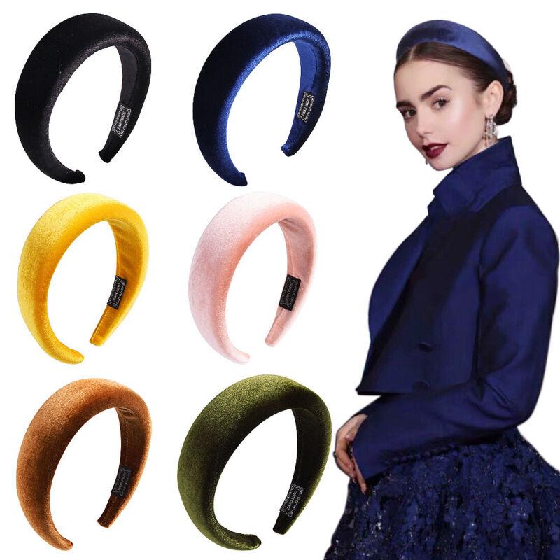 Women Velvet Headband Hairband Padded Wide Hair Hoop Hair Accessories Headpiece