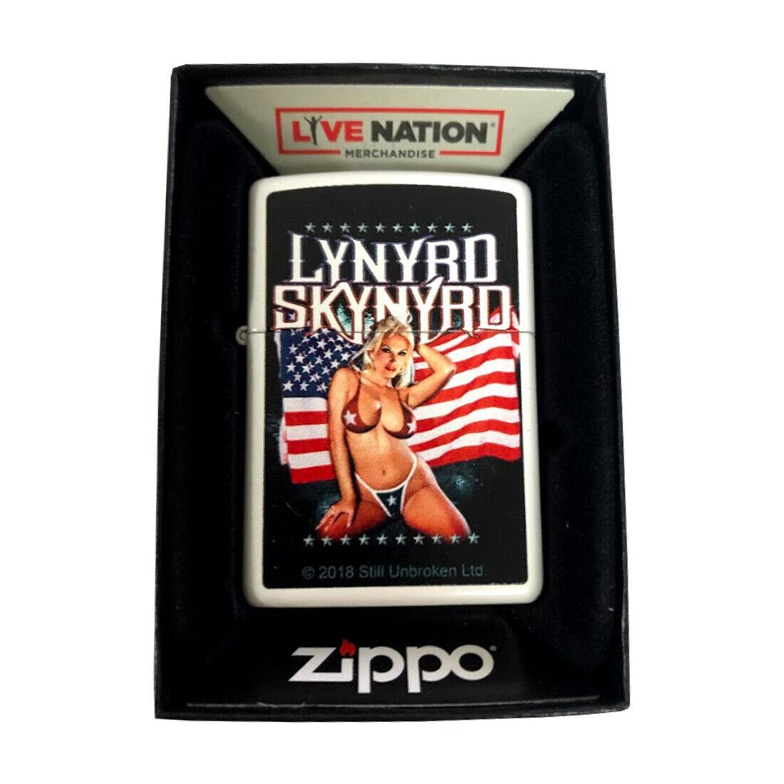 Zippo Custom Lighter White Matte Lynyrd Skynyrd Bikini Woman