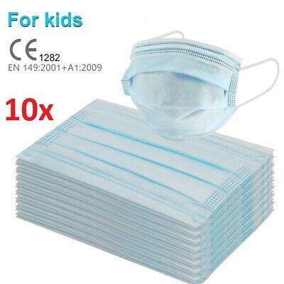 10x Mundschutz Kinder Atemschutz- Maske 3-lagig Einweg Atem Schutzmaske