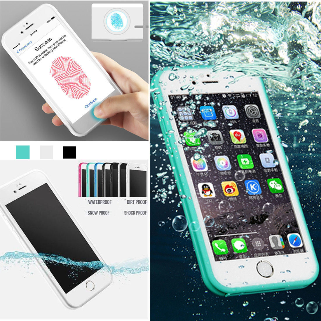 Waterproof Shockproof Dirt Proof TPU Case Cover For iPhone XS X 6s 6 7 8 Plus SE