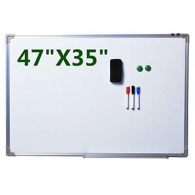 "NEW Single Side Magnetic Writing White Board 47""x 35"" Office School Dry Erase"