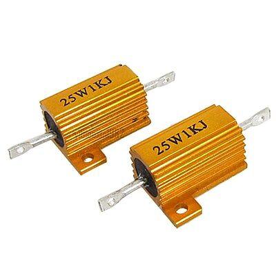 1x 25w 1k Ohm Tolerance 5 Gold Tone Aluminum Clad Wire Wound Resistors