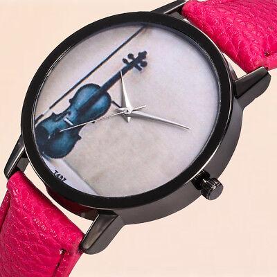 Mode Frauen Student Leder Band Uhr Violine gedruckt analoge Quarzarmbanduhr
