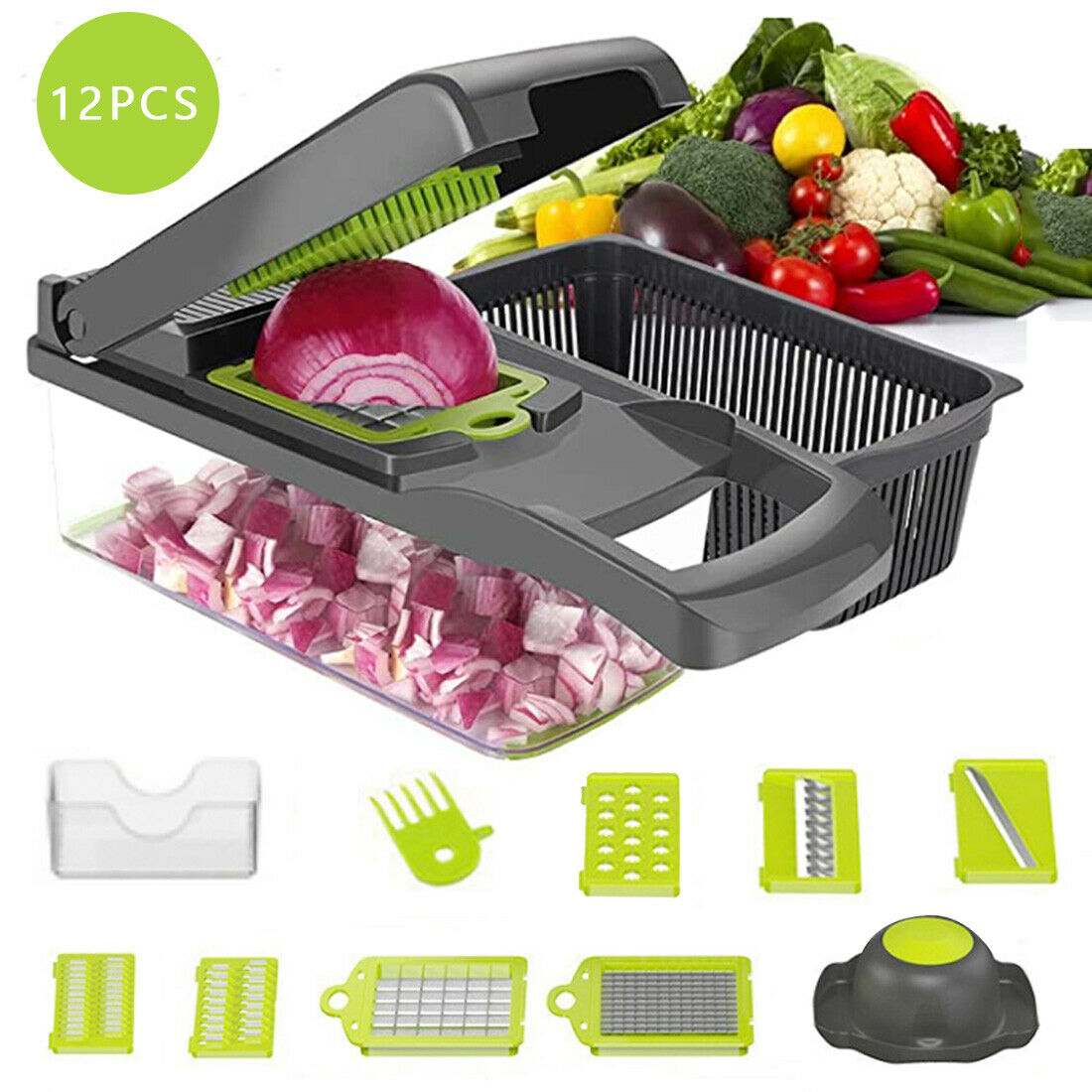 12 in 1 Vegetable Chopper Slicer Onion Dicer Veggie Slicer with Colander Basket