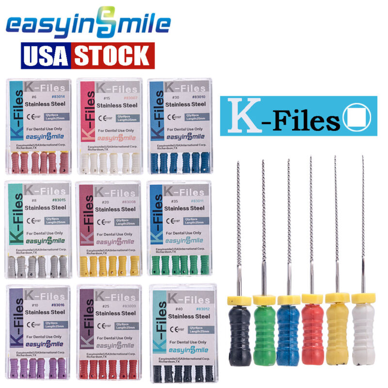 60pcs Endo K Files EASYINSMILE Dental Stainless Steel Root Canal Hand File 25MM