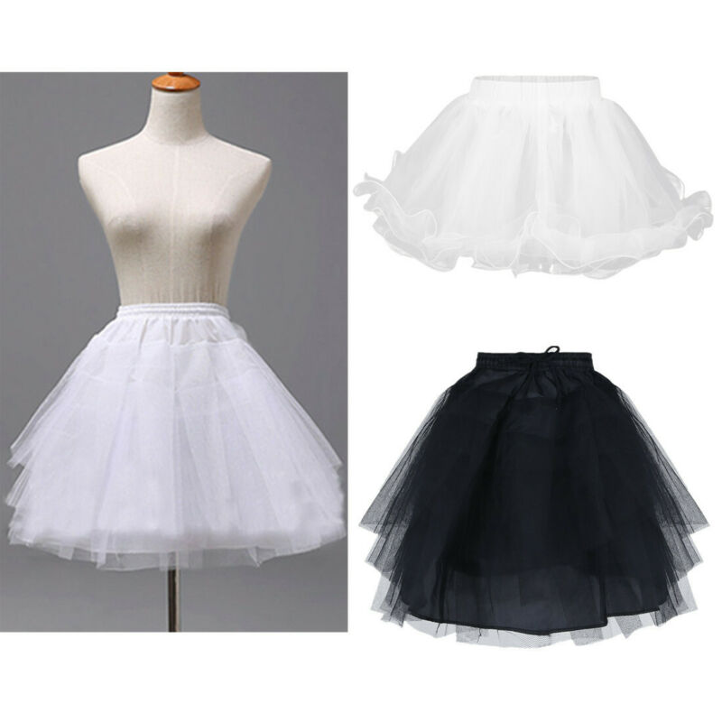 UK Girls Hoopless Petticoat Tutu Crinoline Underskirt Slips Wedding Dress Gown