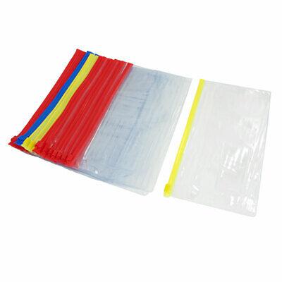 Soft Plastic Zippered B6 Paper File Document Holder Bag Assorted Color 30pcs
