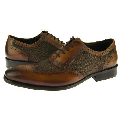 Carrucci Leather/Canvas Wingtip Oxford, Men's Dress/Casual Shoes, Brown Casual Canvas Oxford