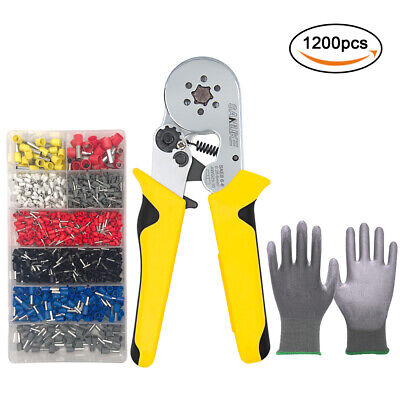 Crimper Plier Kit Hexagonal Self-adjustable Crimping Tool 1200 Terminal Ferrules