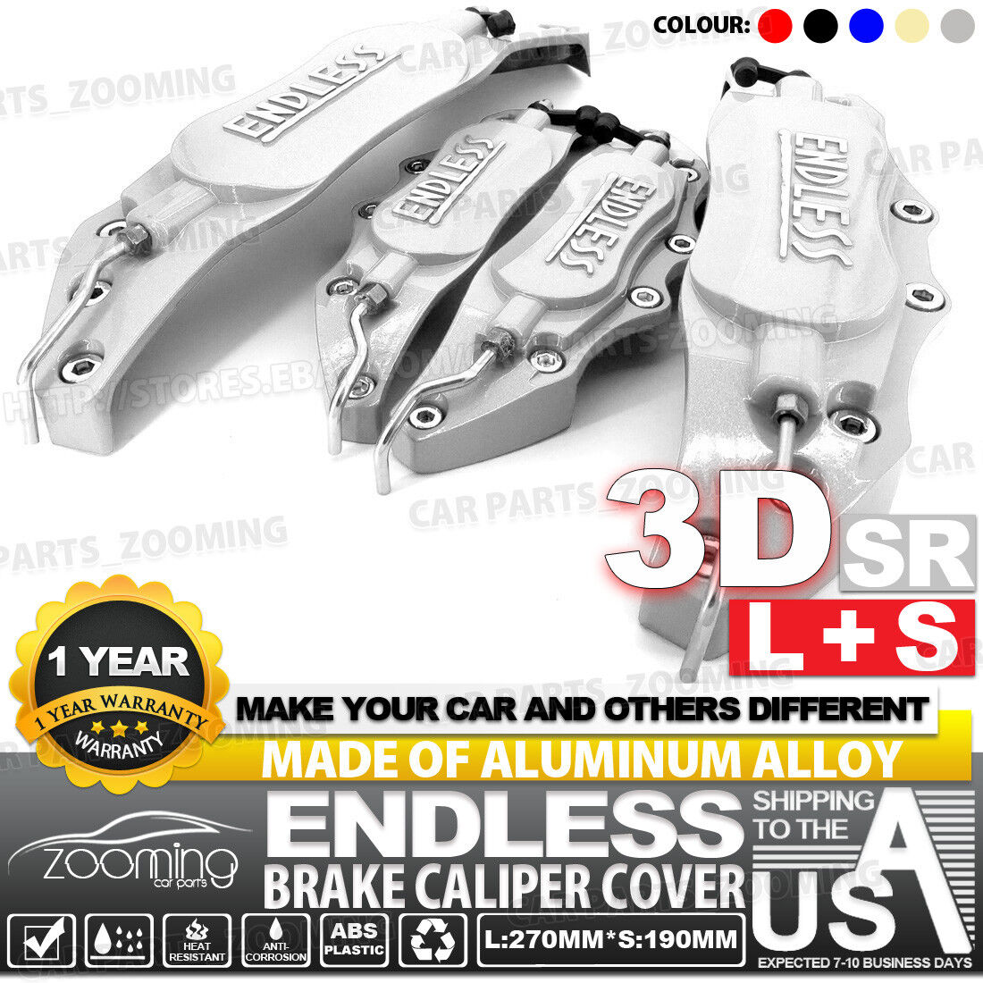 Red Aluminum alloy 3D ENDLESS Style Universal Brake Caliper Cover 4 pcs L+S LW03