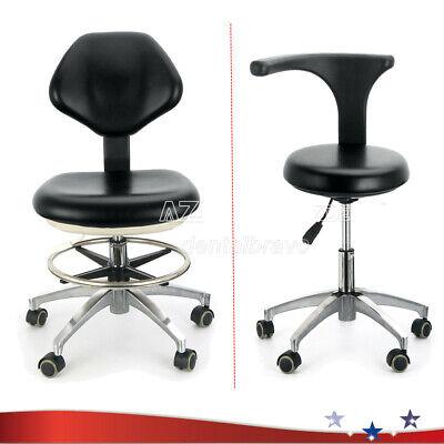 Pu Leather Medical Dental Stool Doctor Assistant Mobile Chair Adjustable Black