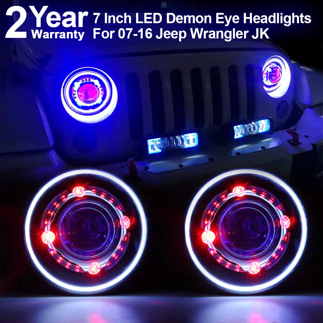 7 Quot Led Headlights For Jeep Wrangler Jk Led Projector