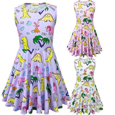 saurier Kleid Cartoon Print Kleider Geburtstag Floral Outfits (Blumen-mädchen-kleider Floral Print)