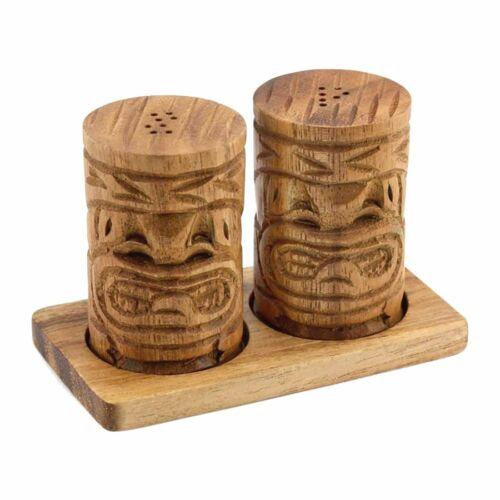Hawaiian Tiki God Hand Carved Acacia Wood Salt & Pepper Shaker Set