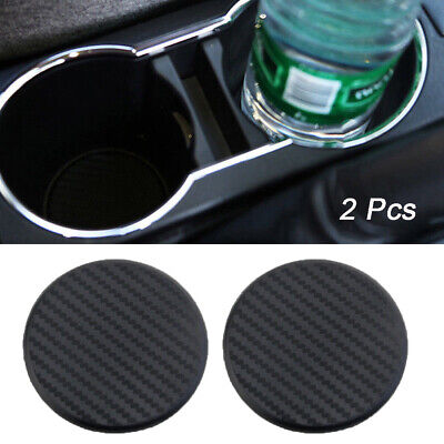 2X Car Vehicle Water Cups Slot Non-Slip Carbon Fiber Look Mat Accessories NEW