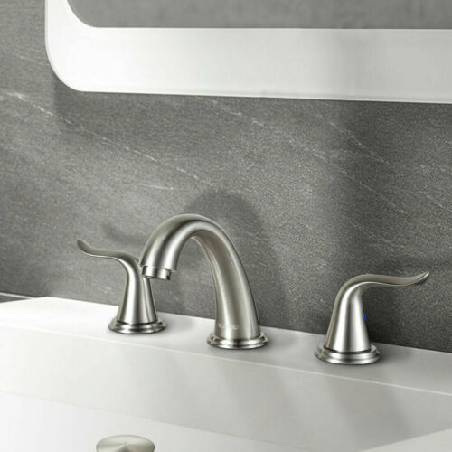 Bathroom Faucet 2 Handle 3 Hole Solid Brass Stainless Steel Lead Free Faucet