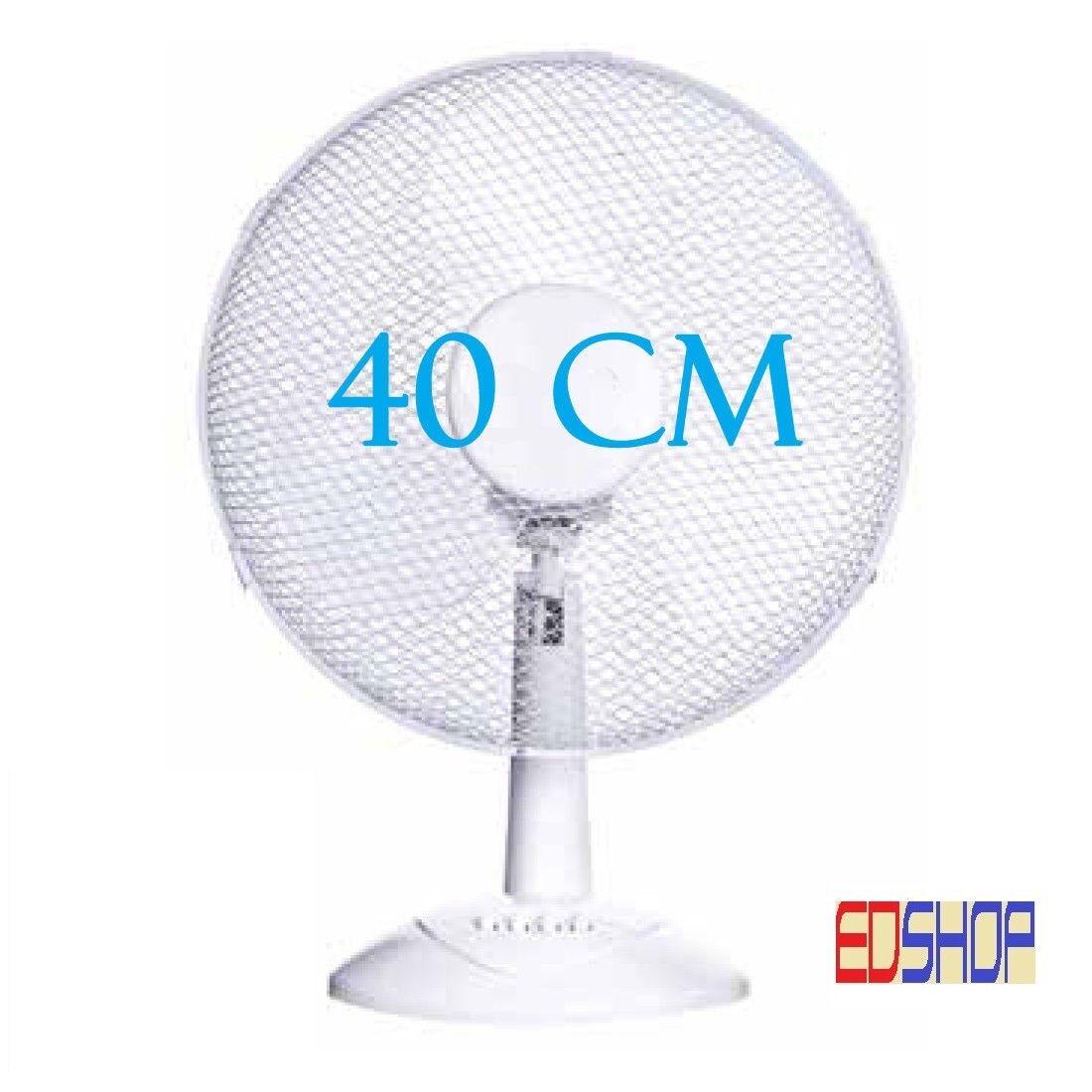VENTILATORE DA TAVOLO DIAMETRO 40 CM BIANCO 3 VELOCITA' BASE CIRCOLARE OSCIL 90°