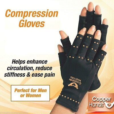 Brace Hand Pain Relief Copper Hands Arthritis Gloves Therapeutic Compression Us