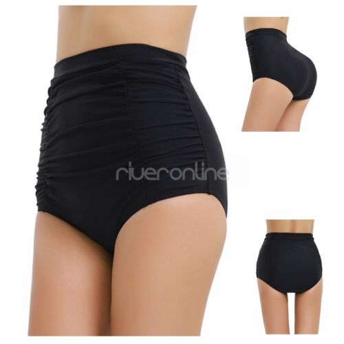 Damen Falten mit hoher Taille Schwimmen Bikinihose Bikini Slip Badehose Schwarz
