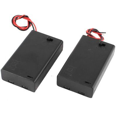 2 Pcs 3 x AAA 4.5V Battery Holder Wired ON/OFF Switch w Cover  L2