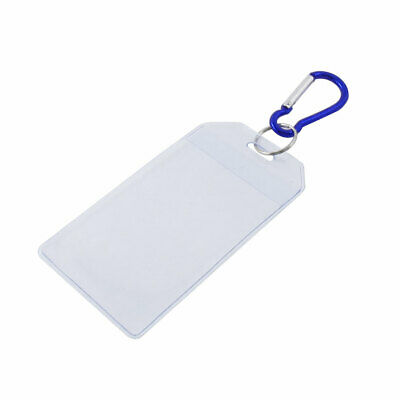 Clear Plastic Vertical Name Id Office Card Badge Holder W Blue Carabiner