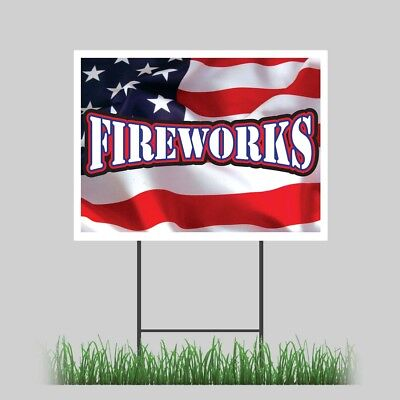 12x18 July 4th Fireworks Stand Yard Sign With Stake Outdoor Coroplast