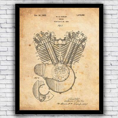1920s Harley Davidson V-Twin Engine patent - wall art print (w/ optional frame) (Harley Davidson V-twin Engine)