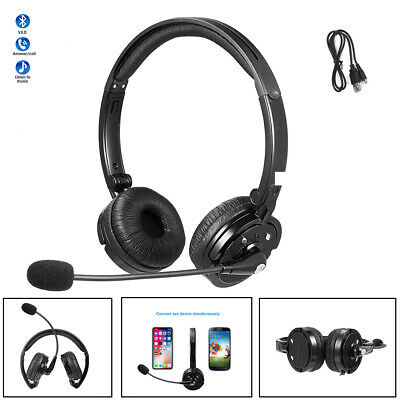 Bluetooth Wireless Headset Truck Driver Noise Cancelling Headphone Over Ear Mic