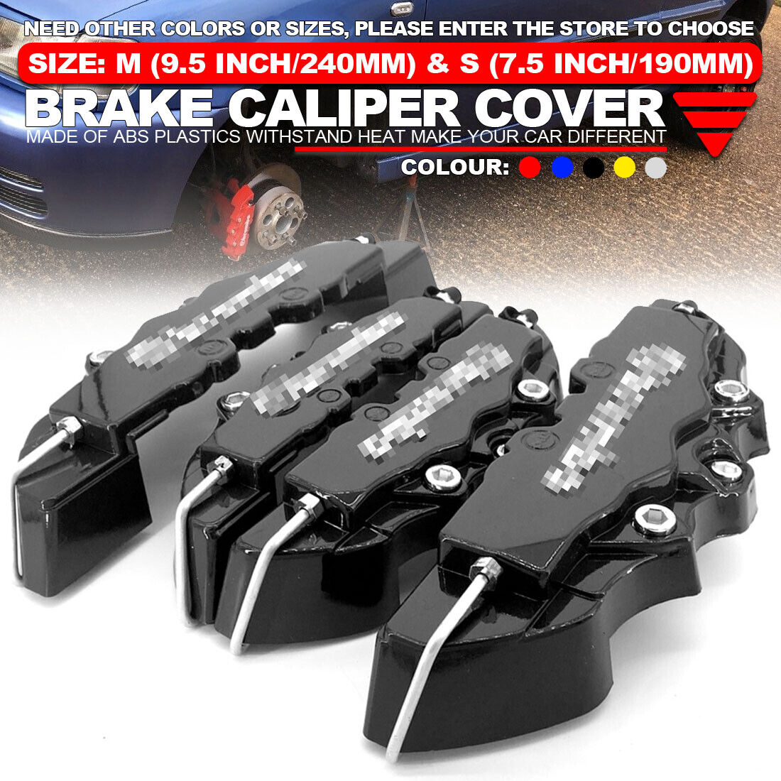 Metal 3D ENDLESS Universal Style Brake Caliper Cover front /& rear 4pcs Blue WL02