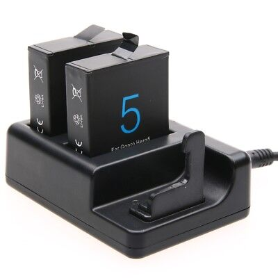 For GoPro HERO 7/6/5 Dual Battery Charger+Remote Control Charger With USB Cable