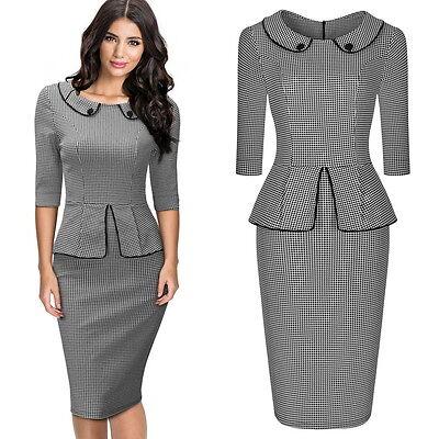 Damen Business Etuikleid Cocktailkleid Bodycon Pencil Abend Kleid 36-44 online kaufen
