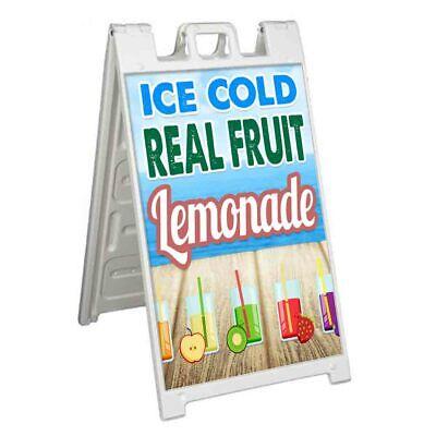 Ice Cold Real Fruit Lemonade Signicade 24x36 Aframe Sidewalk Sign Banner Decal